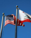 California and American Flags