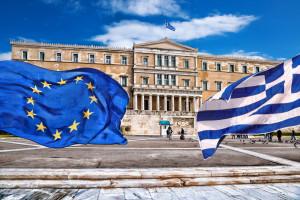 Greece and EU Flags